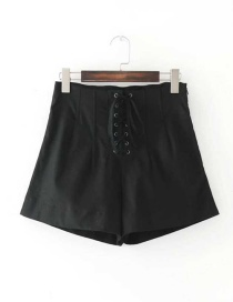 Fashion Black Bowknot Decorated Pure Color High Waist Shorts
