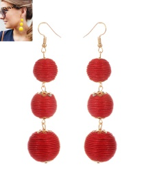 Fashion Red Beads Decorated Pure Color Simple Earrings