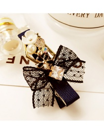 Fashion Navy Bowknot Shape Decorated Simple Hair Pin