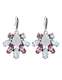 Fashion White Diamond Decorated Simple Earrings