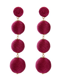 Fashion Red Ball Shape Decorated Simple Earrings