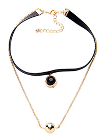 Fashion Black Chili Shape Decorated Simple Necklace