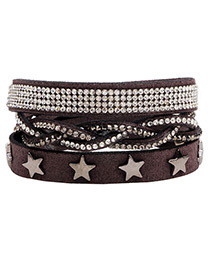 Fashion Gray Star Shape Decorated Multi-layer Bracelet
