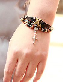 Fashion Coffee Cross Shape Decorated Simple Bracelet