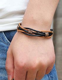 Fashion Black+coffee Pure Color Decorated Simple Bracelet