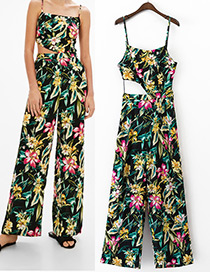 Fashion Black Flower Pattern Decorated Simple Jumpsuit