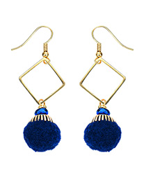 Fashion Gold Color+sapphire Blue Ball Decorated Simple Pom Earrings