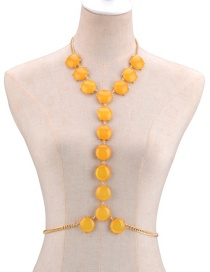 Fashion Yellow Round Shape Decorated Simple Body Chain
