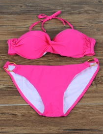 Fashion Plum Red Pure Color Decorated Simple Split Swimsuit
