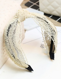 Lovely Beige Knot Decorated Simple Lace Hair Hoop