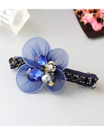 Lovely Sapphire Blue Diamond&flower Decorated Simple Hair Band