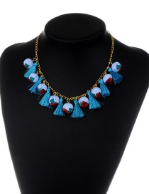Fashion Blue Tassel&balls Decorated Simple Necklace