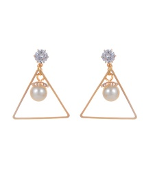 Fashion Gold Color Pearl Decorated Triangle Shape Earrings