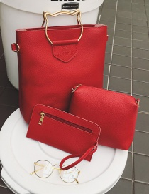 Fashion Red Cat Shape Decorated Pure Color Shoulder Bag(3pcs)