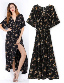 Vintage Black+yellow Flower Pattern Decorated V Neckline Long Dress