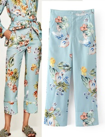 Fashion Multi-color Flower Pattern Decorated Long Pants