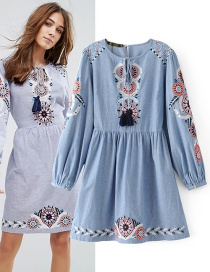 Fashion Blue Tassel&flower Decorated Simple Dress