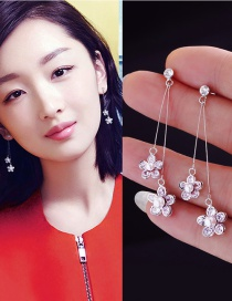 Trendy Silver Color Flowers Shape Decorated Simple Earrings