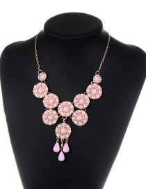 Fashion Pink Flower Shape Decorated Simple Necklace