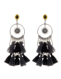 Fashion Gray Tassel Decorated Circular Ring Shape Earrings