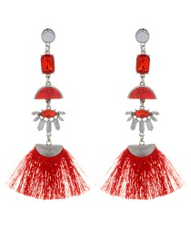 Fashion Red Tassel&diamond Decorated Simple Earrings
