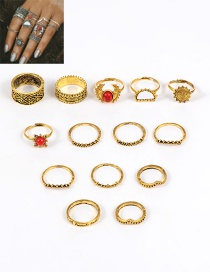 Fashion Gold Color Flower Shape Decorated Simple Ring (14 Pcs)