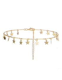 Fashion Gold Color Star Shape Decorated Simple Necklace