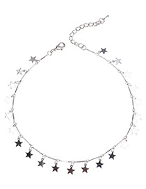 Fashion Silver Color Star Shape Decorated Simple Necklace