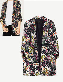 Fashion Black Flower Pattern Decorated Simple Coat
