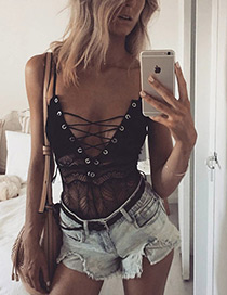 Sexy Black Pure Color Decorated Simple Lingerie