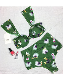 Sexy Green Leaf Pattern Decorated Simple Swimwear