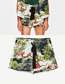 Fashion Green Flower Pattern Decorated Simple Shorts