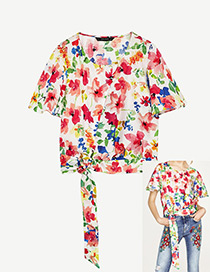 Fashion White+red Flower Pattern Decorated Simple Shirts