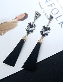 Fashion Black Tassel Decorated Geometric Shape Earrings