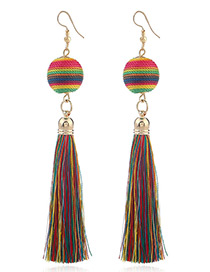 Bohemia Multi-color Round Ball&tassel Decorated Simple Earrings