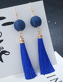 Bohemia Blue Round Ball&tassel Decorated Simple Earrings