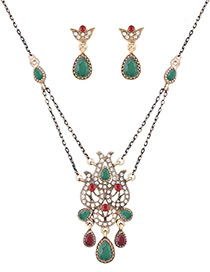 Fashion Green Water Drop Shape Diamond Decorated Hollow Out Jewelry Sets