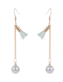 Fashion Light Green Pearl&tassel Decorated Simple Earrings