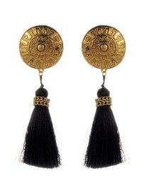 Fashion Black Round Shape&tassel Decorated Simple Earrings
