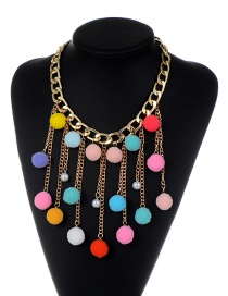 Fashion Multi-color Fuzzy Balls Decorated Tassel Design Pom Necklace