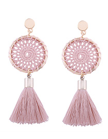 Fashion Light Pink Tassel Decorated Pure Color Hand-woven Earrings