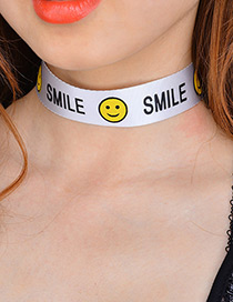 Fashion White Smiling Face Pattern Decorated Simple Choker