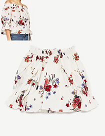 Fashion White Flower Pattern Decorated Off Shoulder Shirt