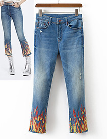 Fashion Blue Flame Pattern Decorated Long Jeans
