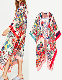 Fashion Multi-color Flower Pattern Decorated Three-quarter Sleeves Coat