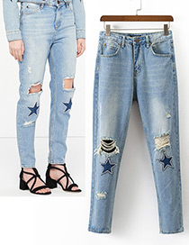 Fashion Blue Stars Pattern Decorated Long Ripped Jeans