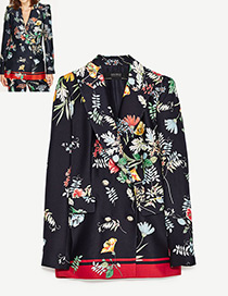 Fashion Black Leaf&flower Decorated Long Sleeves Leisure Suit