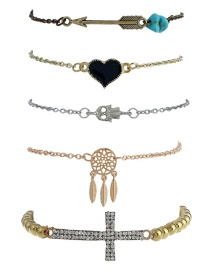 Trendy Gold Color Cross&heart Shape Decorated Simple Bracelet(5pcs)
