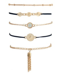 Trendy Gold Color Tassel&round Shape Decorated Simple Bracelet(5pcs)