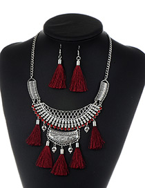 Fashion Claret Red Tassel Decorated Pure Color Jewelry Sets